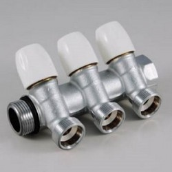 Kolektorius vandentiekiui 2 žiedų DN20 su reg.ventiliais