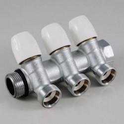Kolektorius vandentiekiui 3 žiedų DN20 su reg.ventiliais